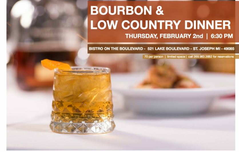 Bourbon & Low Country Dinner at the Bistro on the Boulevard, including shrimp and grits and bourbon old fashioneds with Journeyman Distillery's Buggywhip Wheat.