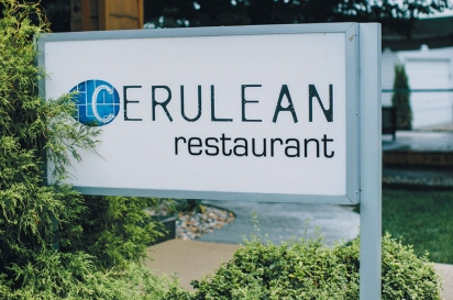 The sign in front of Cerulean Restaurant