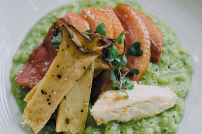 Risotto with house-made duck bacon with Cerulean Restaurant