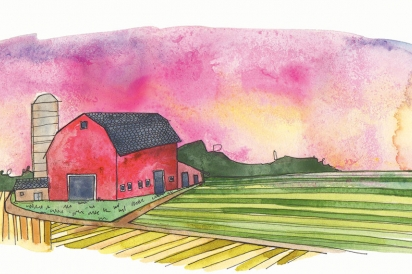 A barn in the middle of a field.