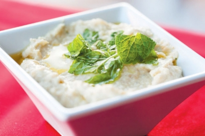 Served with warm pita, Baba Ganouj is roasted eggplant and tahini blended into a dip.