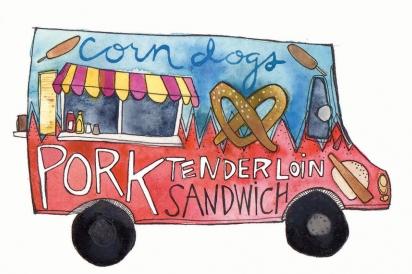 A pork tenderloin sandwich truck